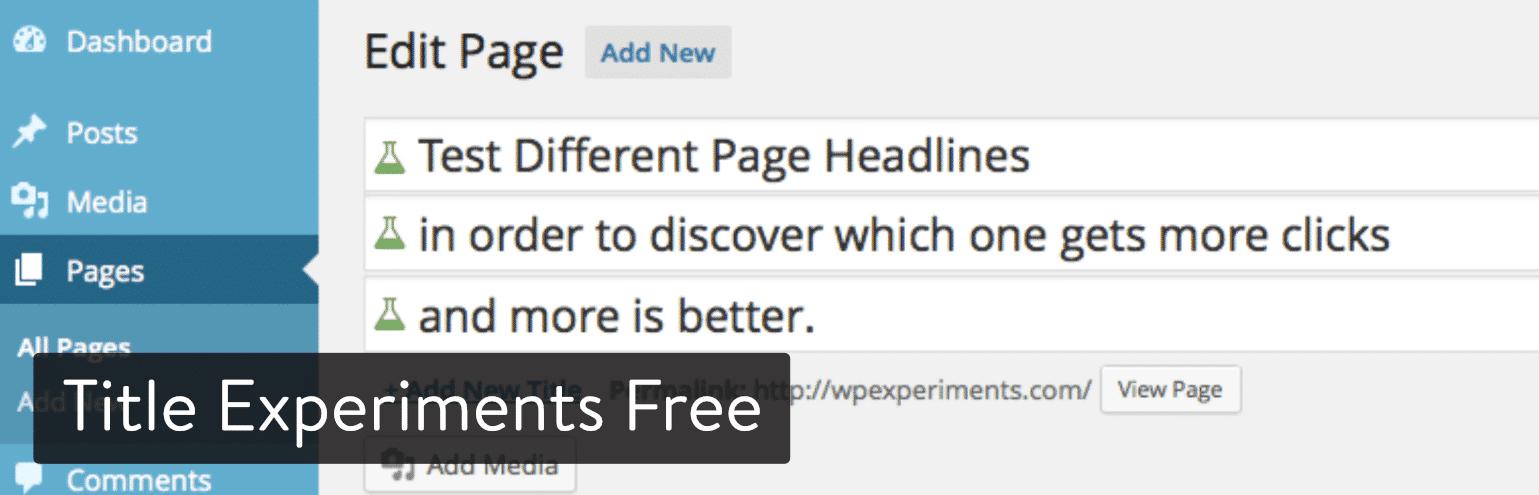 Titre Expériences Plugin WordPress gratuit