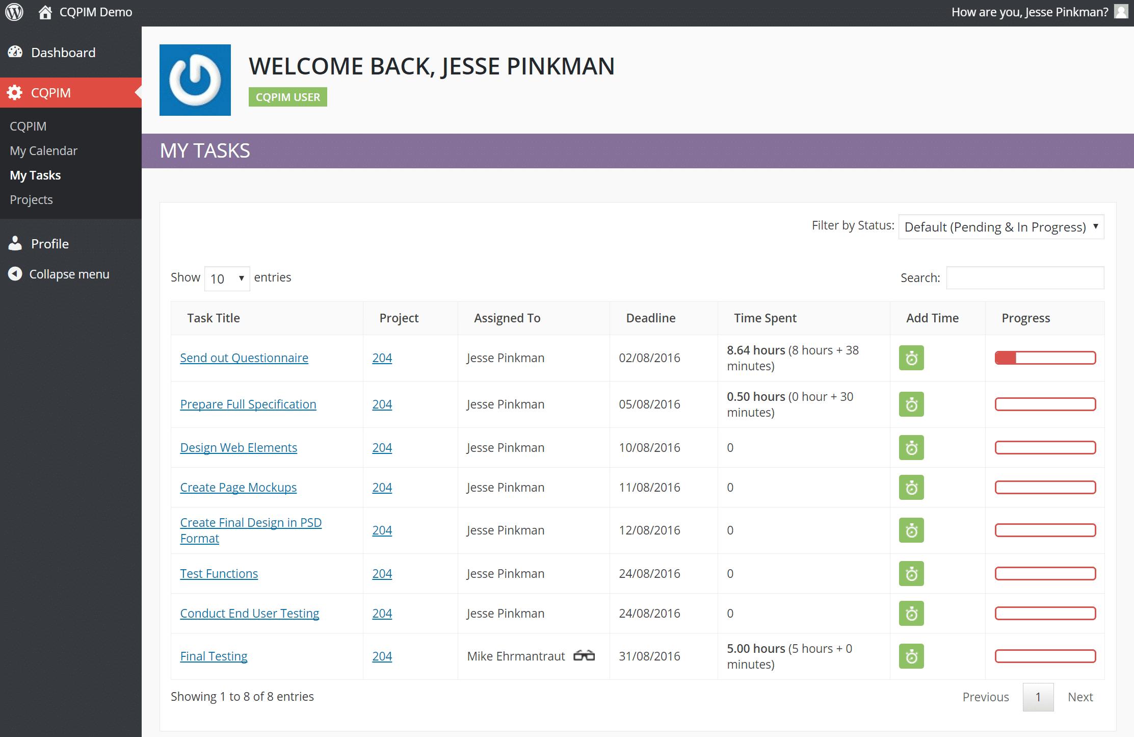 Exemple de tâches dans CQPIM