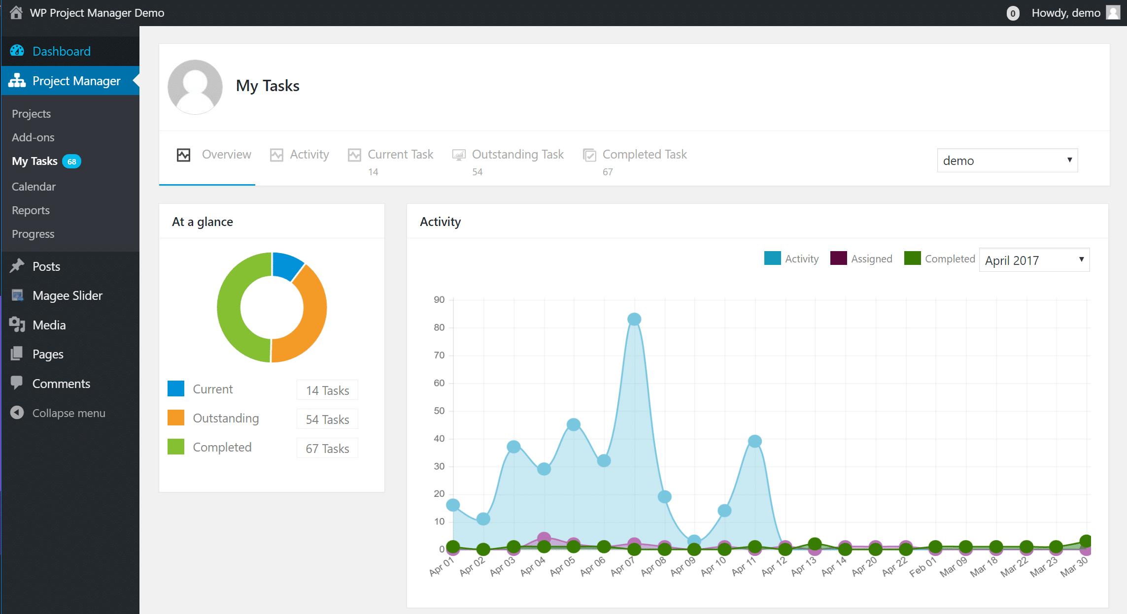 Exemple de tâches dans WP Project Manager