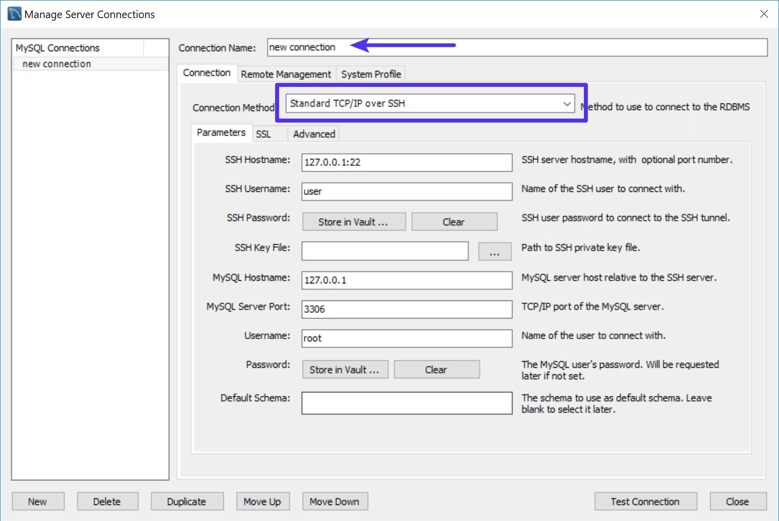 Connexion MySQL Workbench