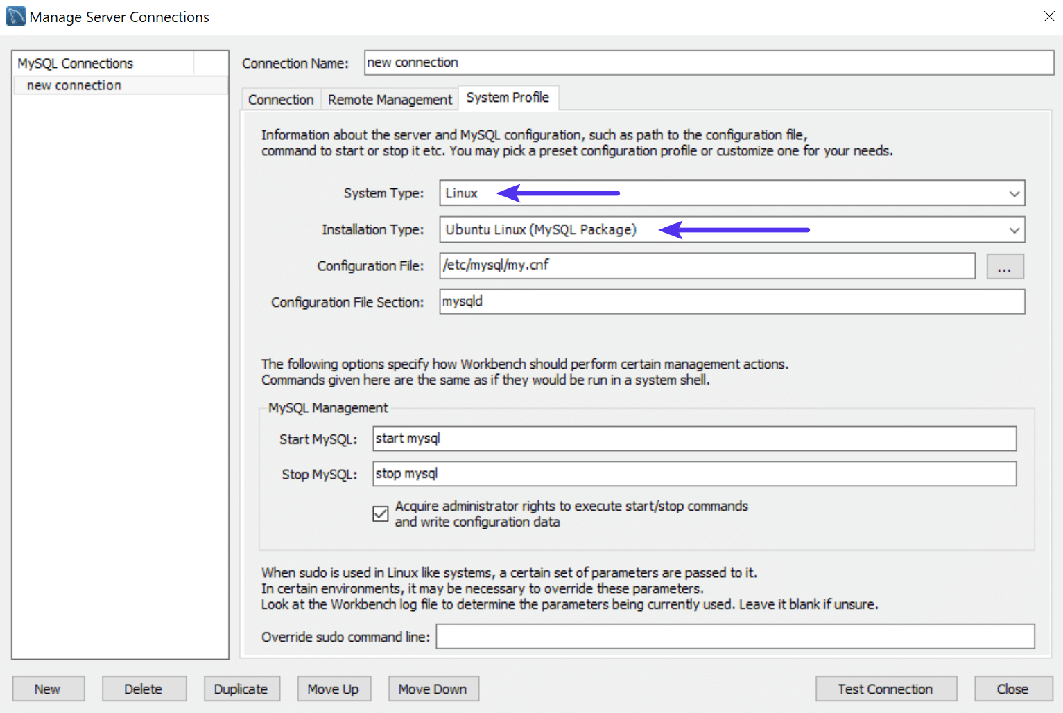 Profil système MySQL Workbench