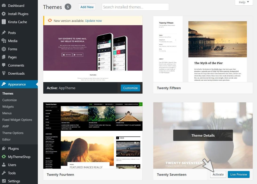 Changer temporairement le thème WordPress