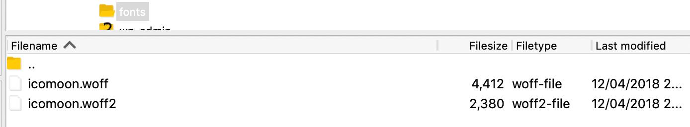 Fichiers de polices d'icônes SFTP