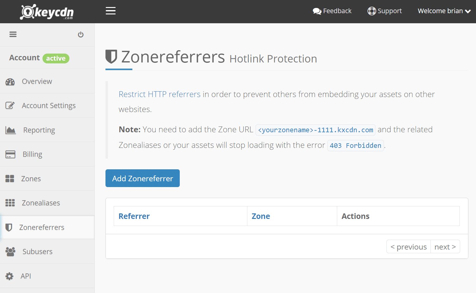 Protection Hotlink KeyCDN