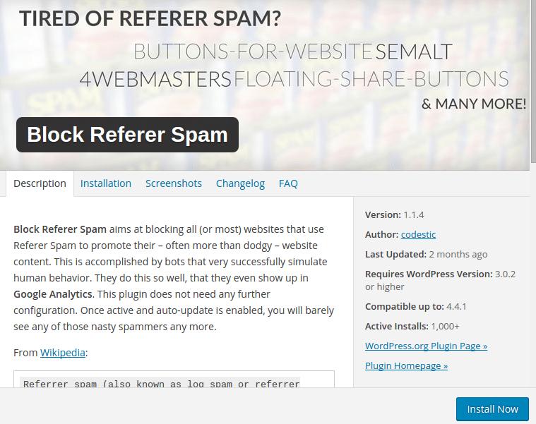 referral spam WordPress plugin