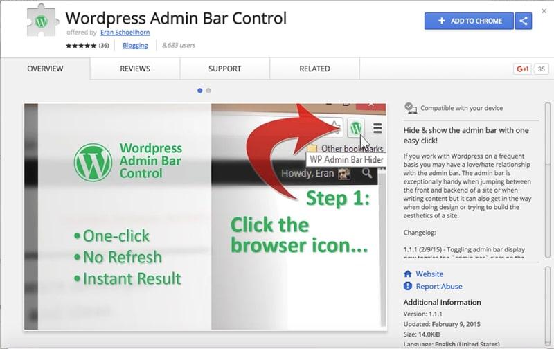 WordPress Admin Bar Control