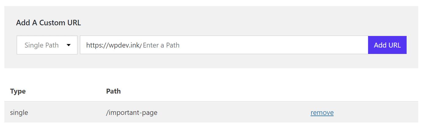 Cache - URL personnalisée, chemin unique