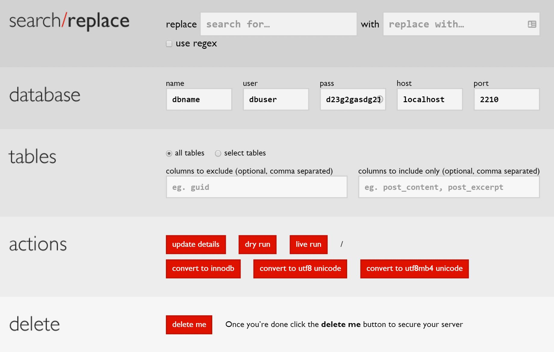 Exécuter la recherche et le remplacement sur la base de données WordPress