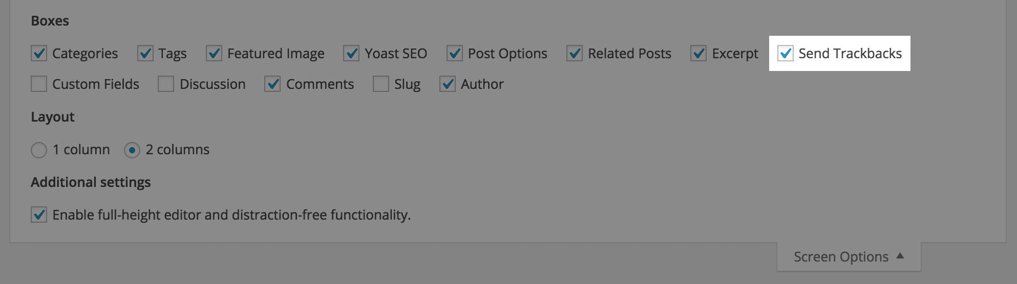 Paramétrage de l'affichage des rétroliens dans la section des options d'écran de WordPress