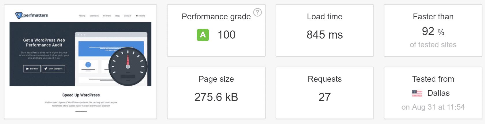 Test de vitesse Pingdom avant DNS