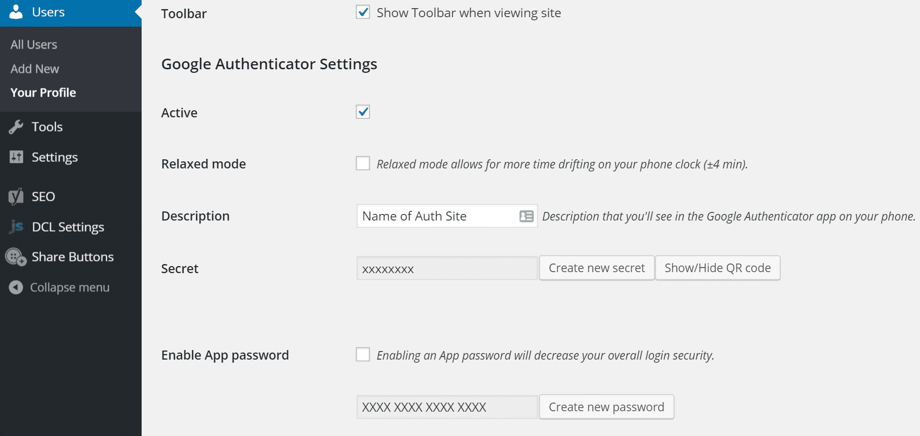 Paramètres de Google Authenticator