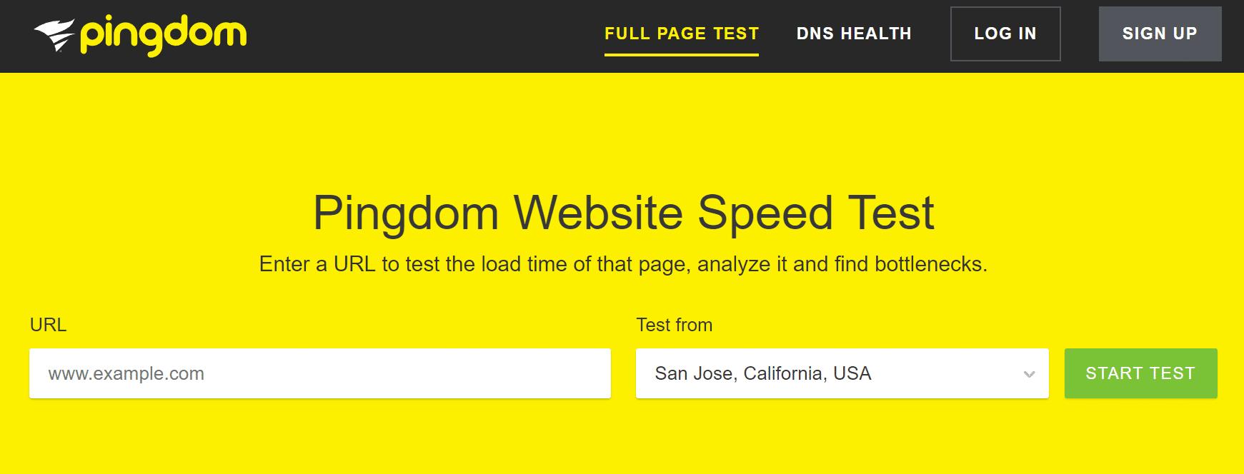 Test de vitesse de site web avec Pingdom
