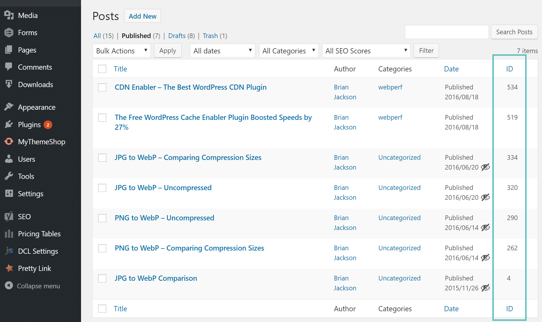 Afficher l'ID d'article dans le tableau de bord WordPress
