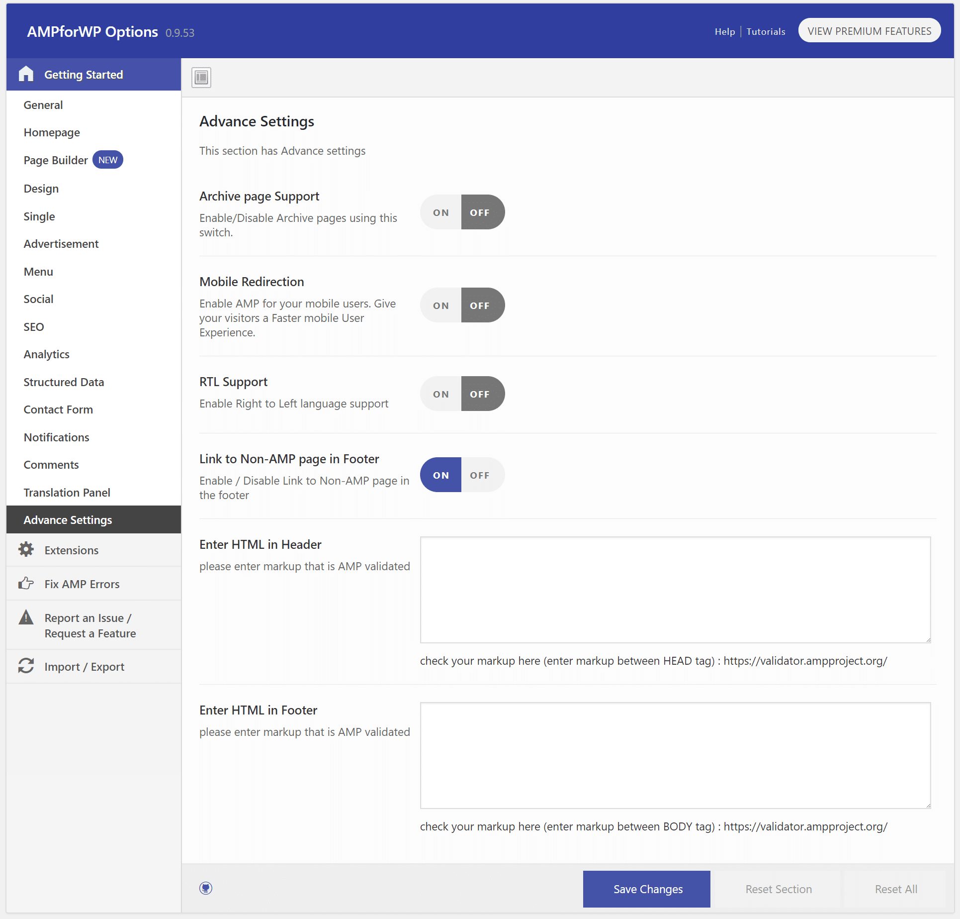 AMP Advanced Settings