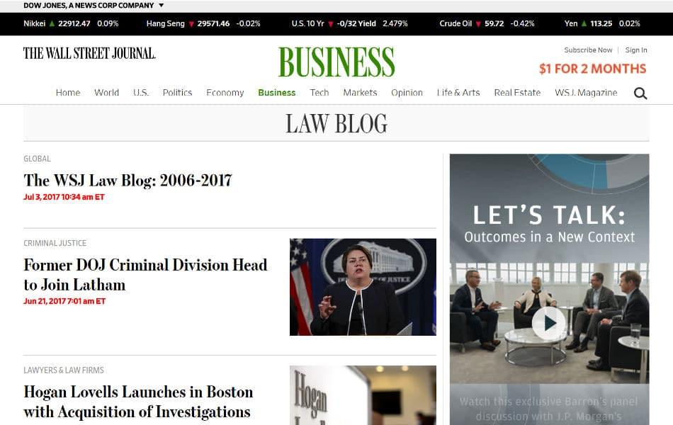 Le blog du Wall Street Journal sur le droit