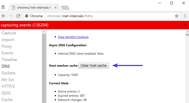 Effacer le cache de l'hôte dans Chrome