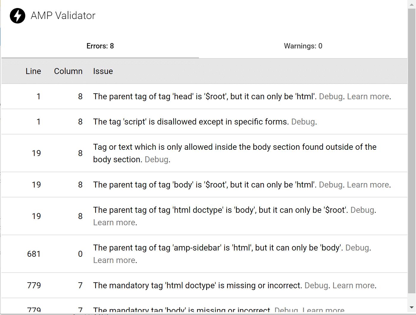 Erreurs Google AMP