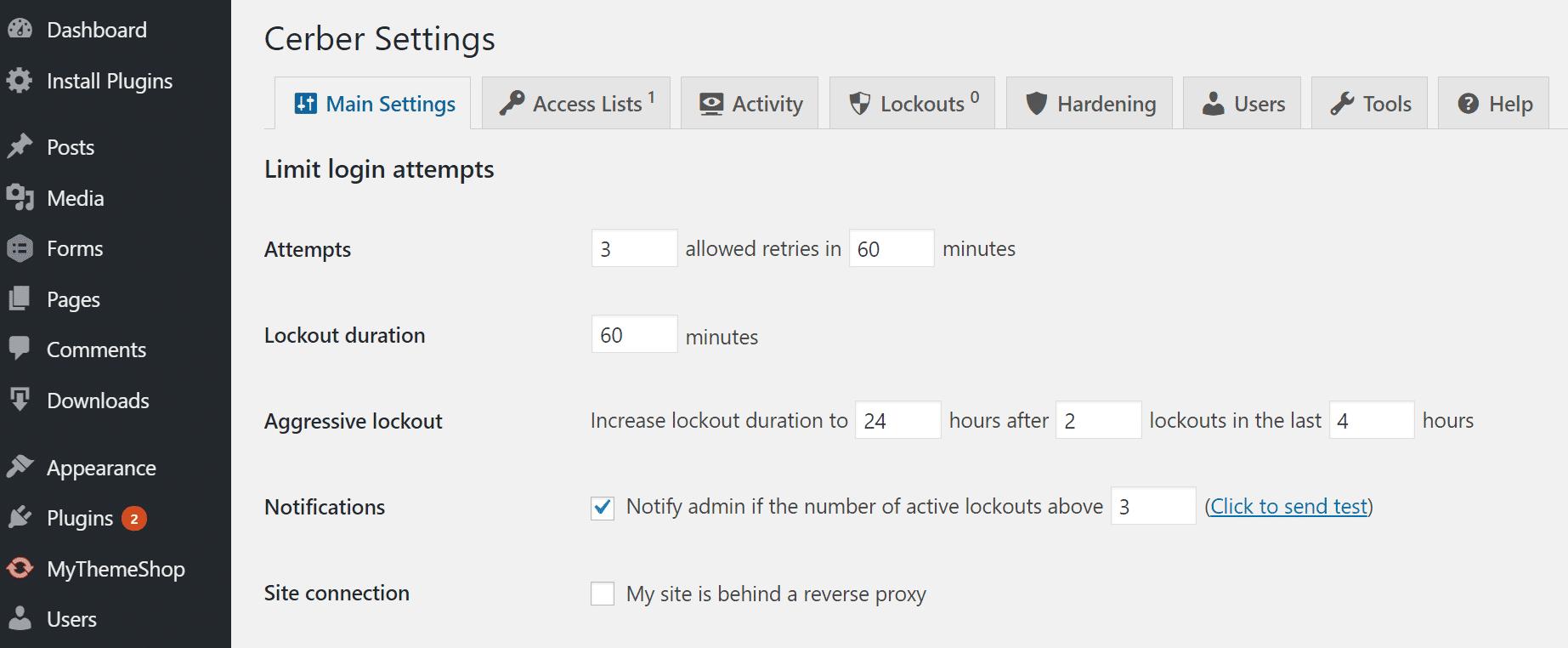 Limiter tentatives de connexion WordPress