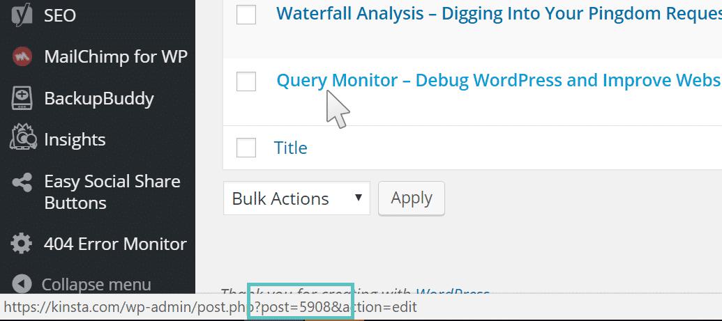 Obtenir l'ID d'un article WordPress