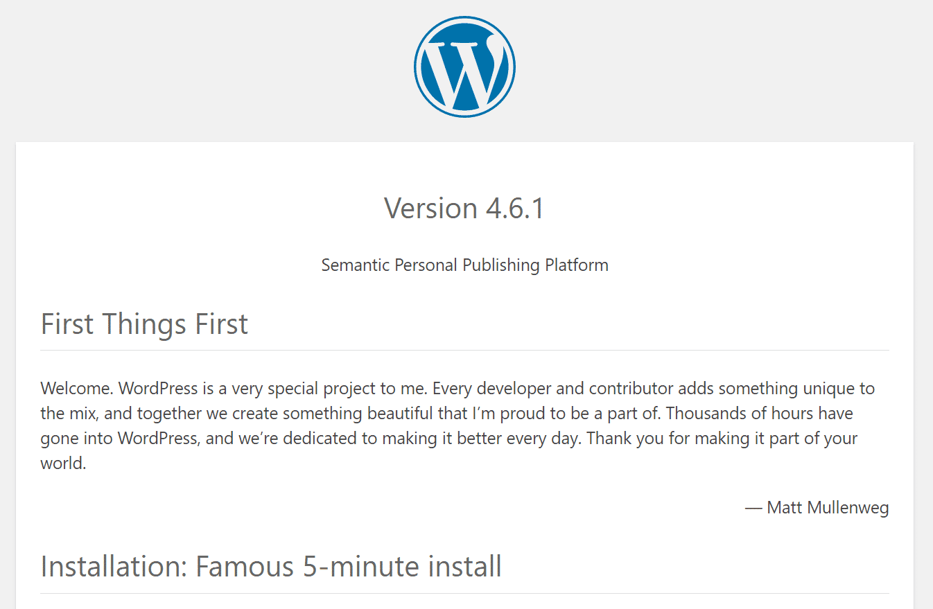 Version dans le fichier readme de WordPress