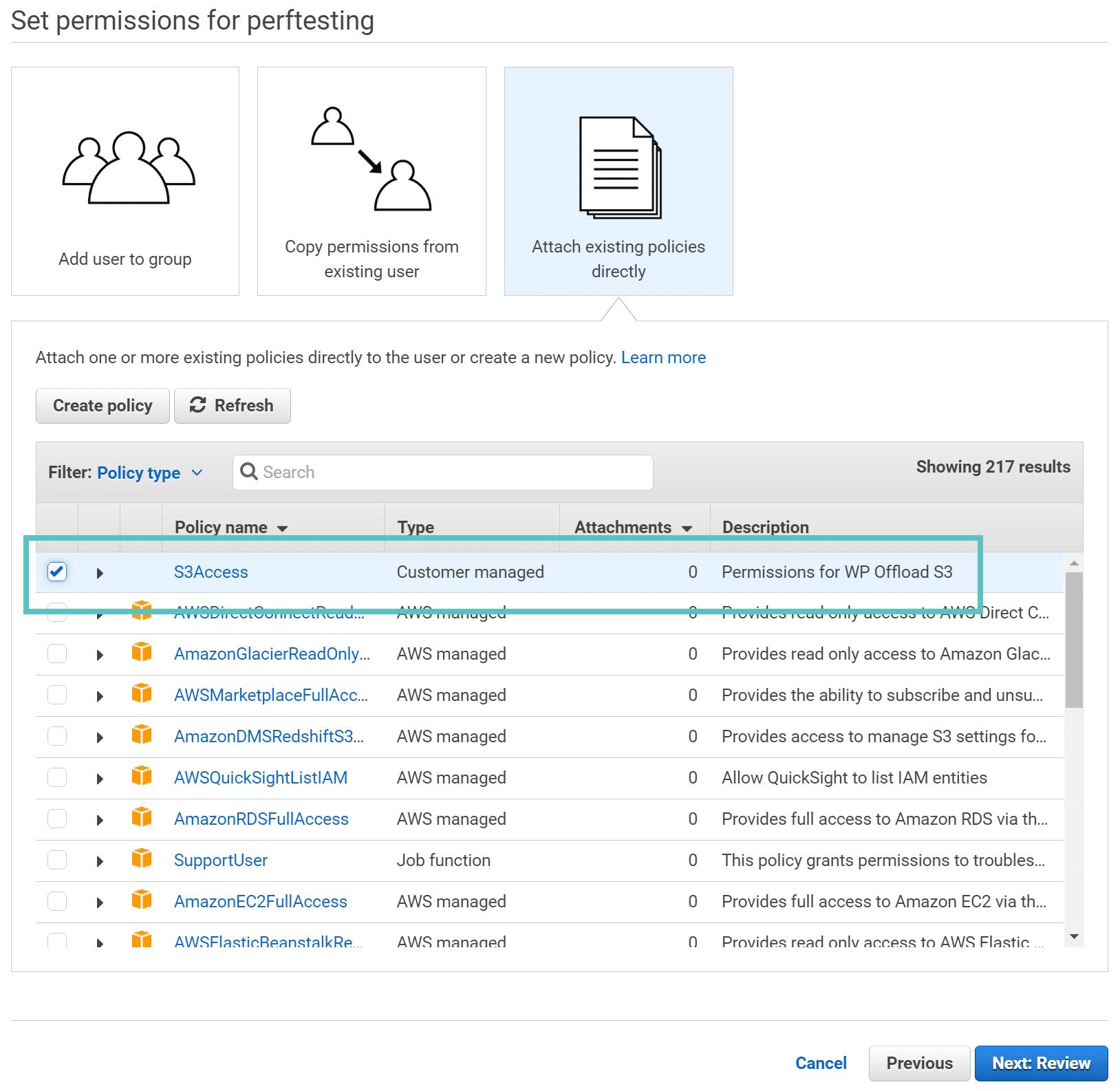 Autorisations AWS pour l'utilisateur