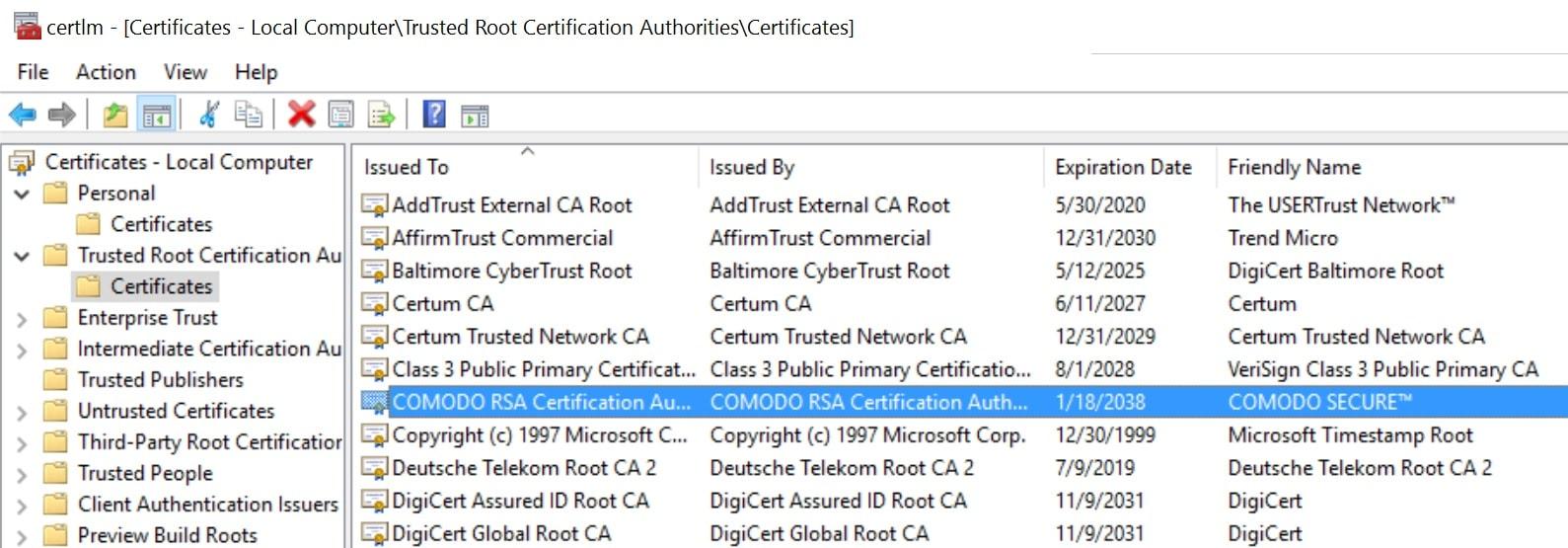 Autorités de certificats racines de confiance