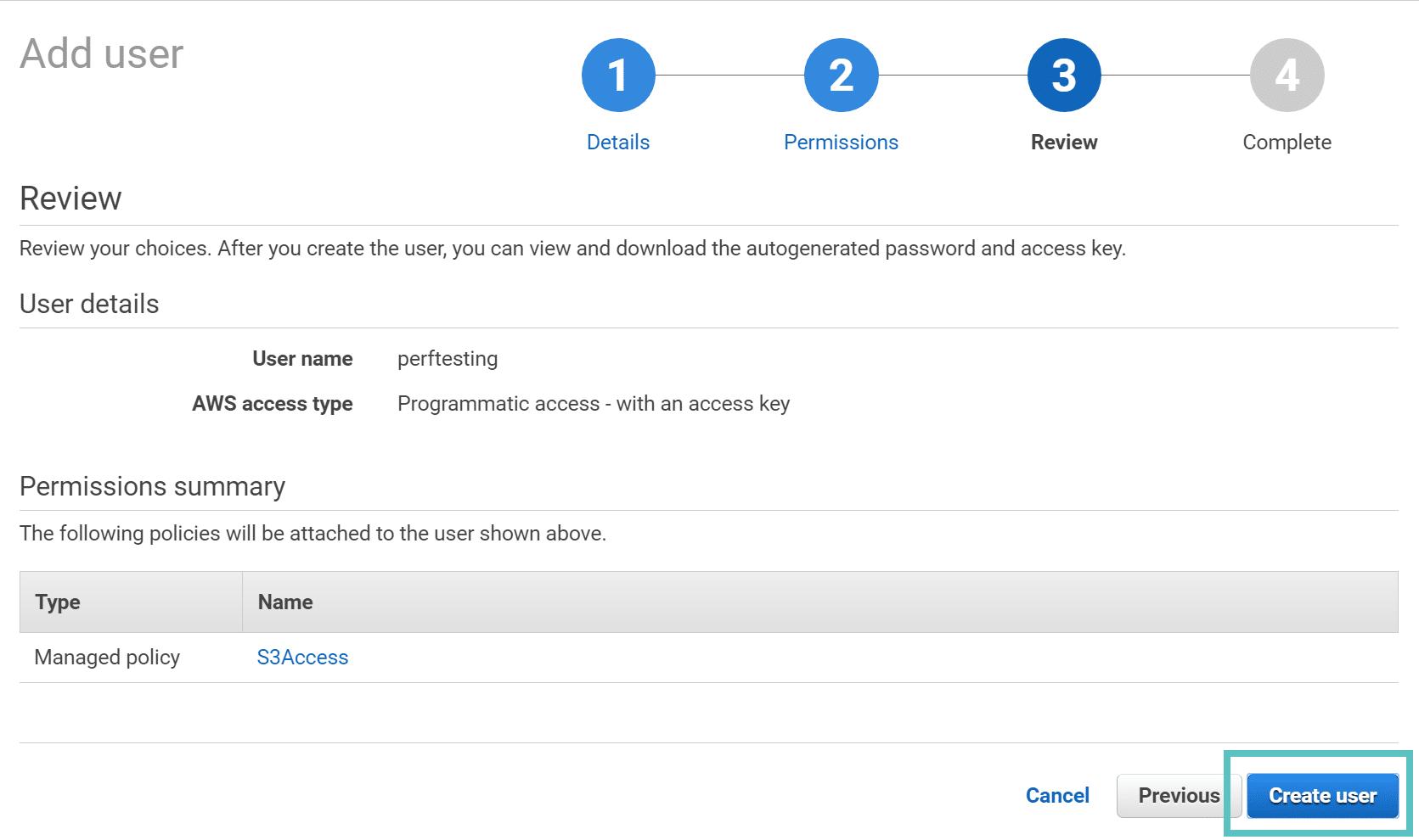 AWS créer utilisateur