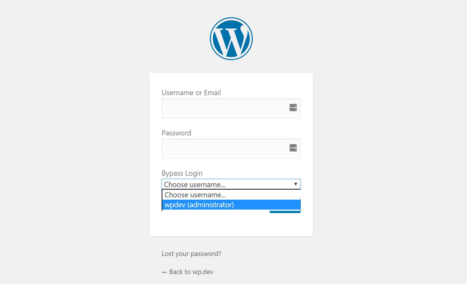 Connectez-vous au WordPress local