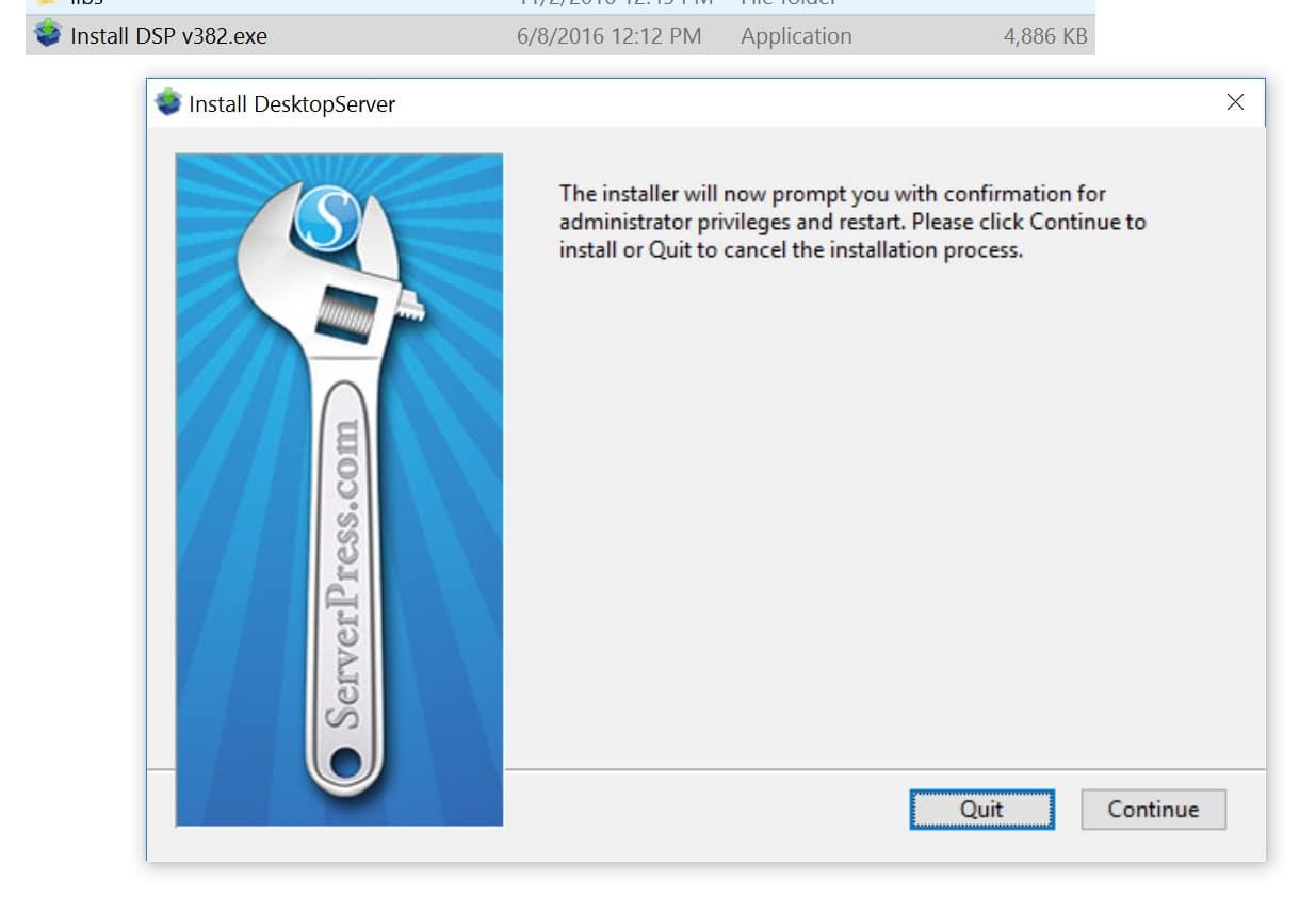 Installer DesktopServer