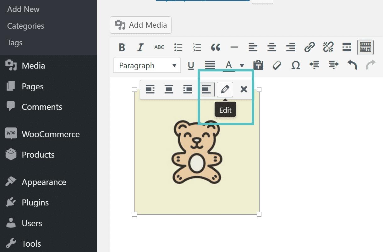 modifier image WordPress