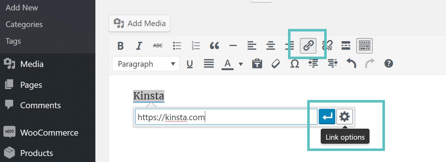 options de liens wordpress