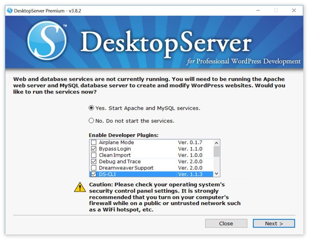 Services Apache et mySQL