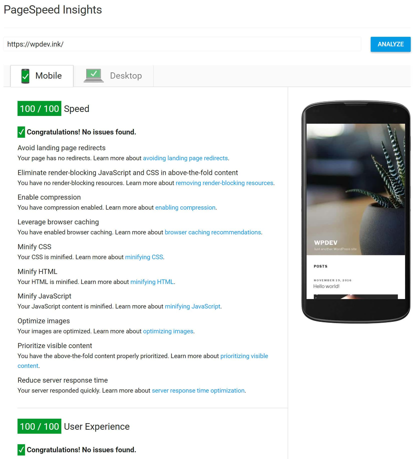 100/100 PageSpeed Insights mobile avec Kinsta