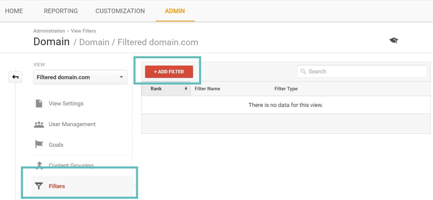 Ajouter un nouveau filtre dans Google Analytics