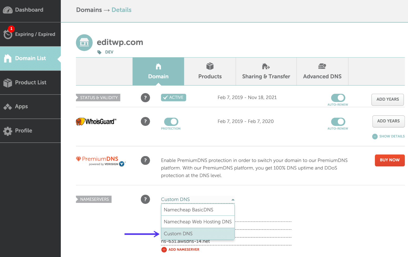 DNS personnalisé Namecheap