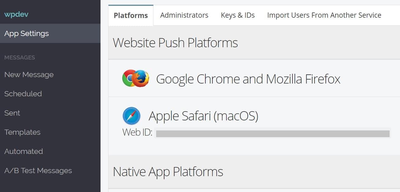 ID Web Safari d'Apple