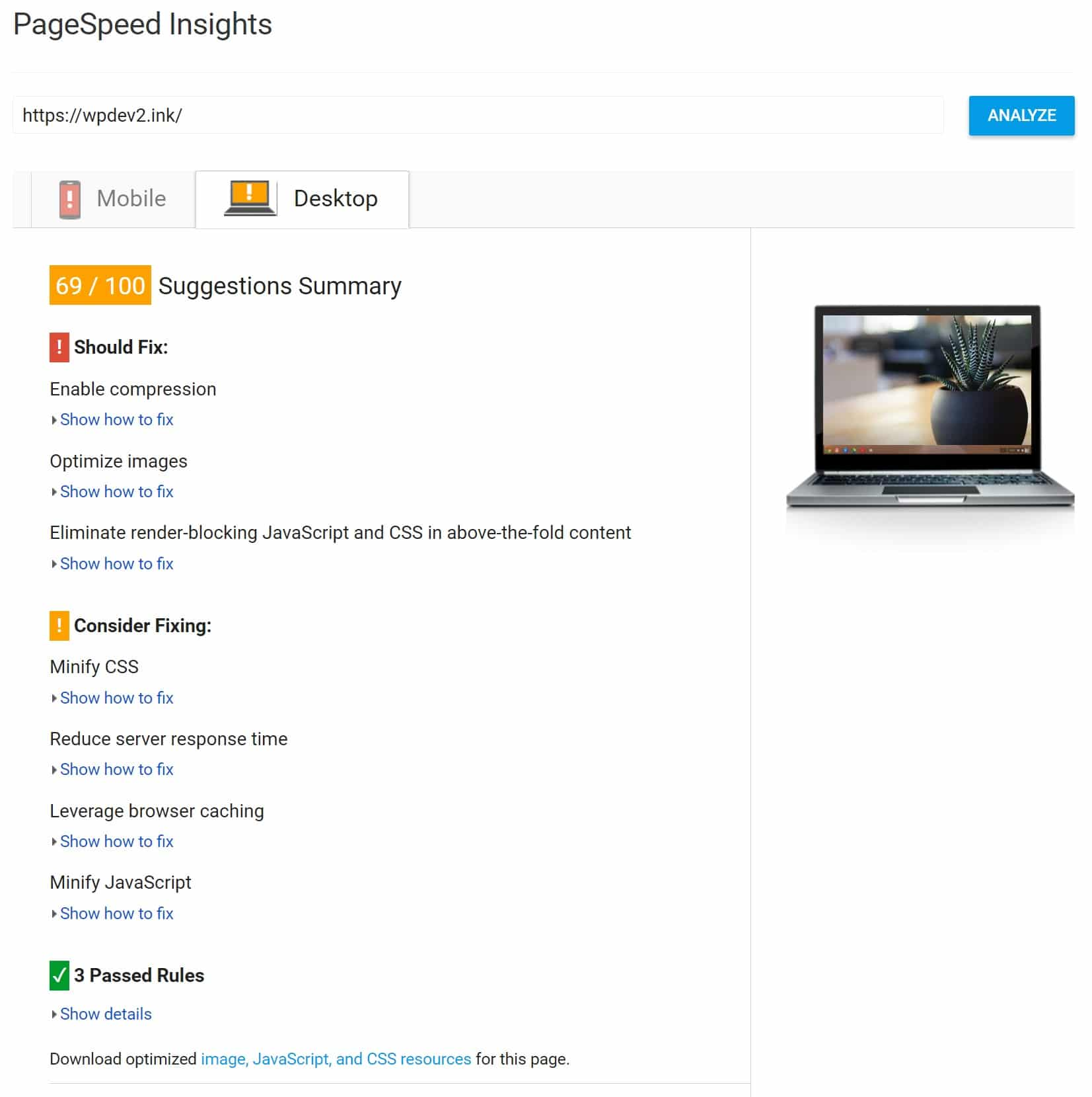 Score d'hébergement mutualisé sur Google PageSpeed Insights