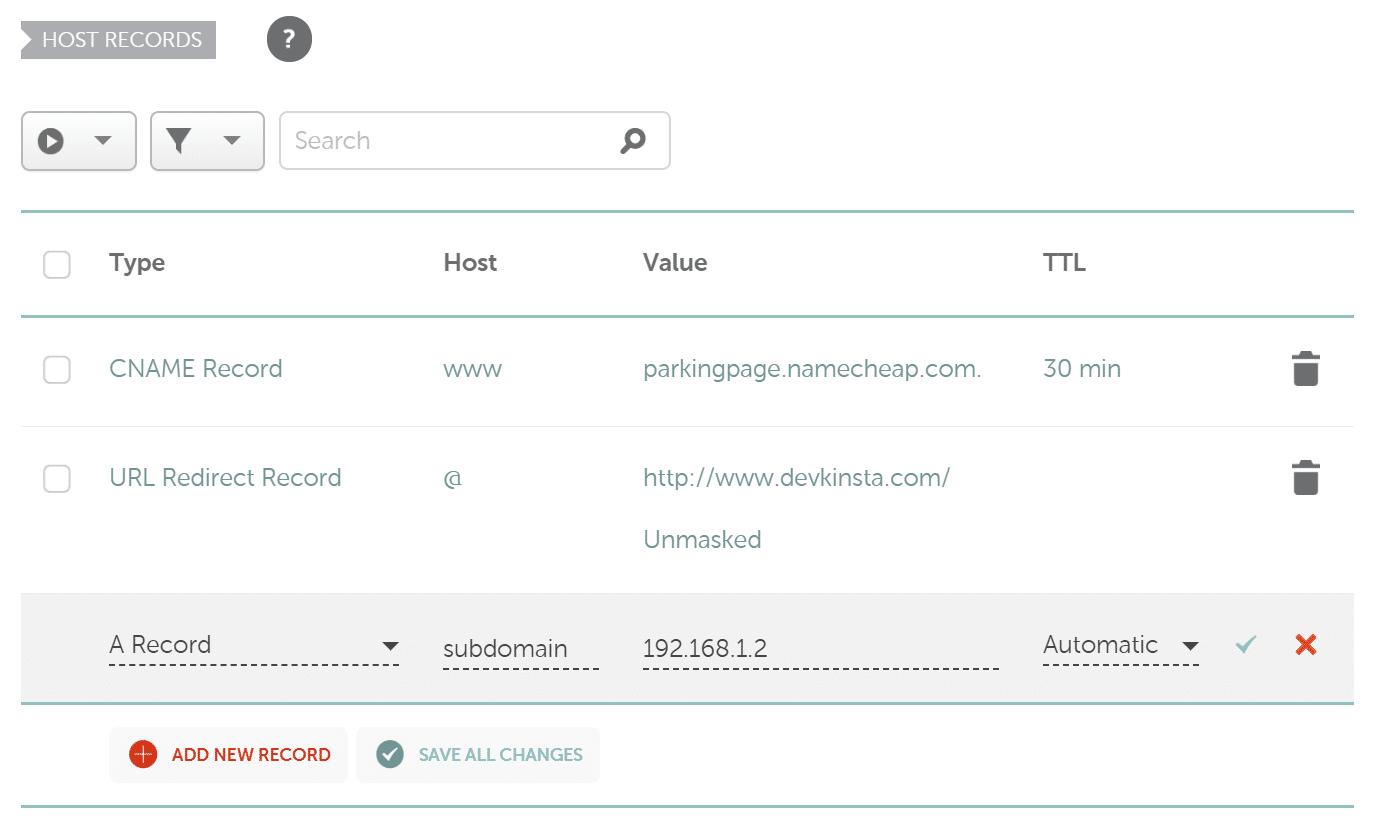 Enregistrement A de sous-domaine Namecheap