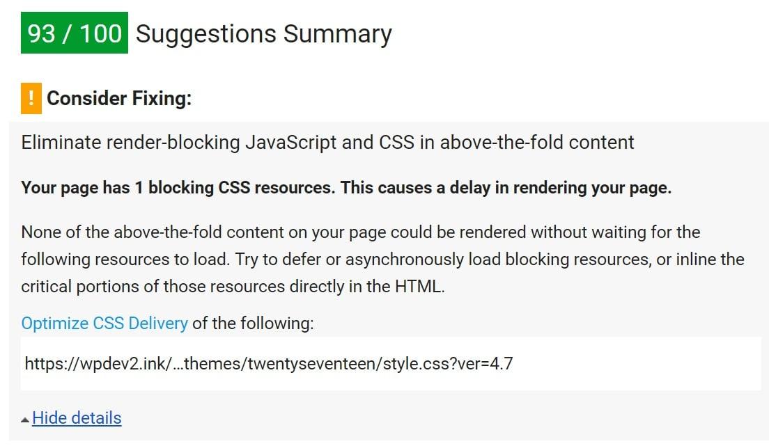 Avertissement Optimiser les chaînes de requête CSS