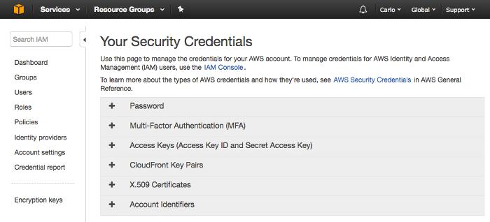 Votre console d'informations d'identification de sécurité