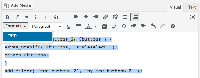 Le menu déroulant Styleselect contenant un seul élément personnalisé