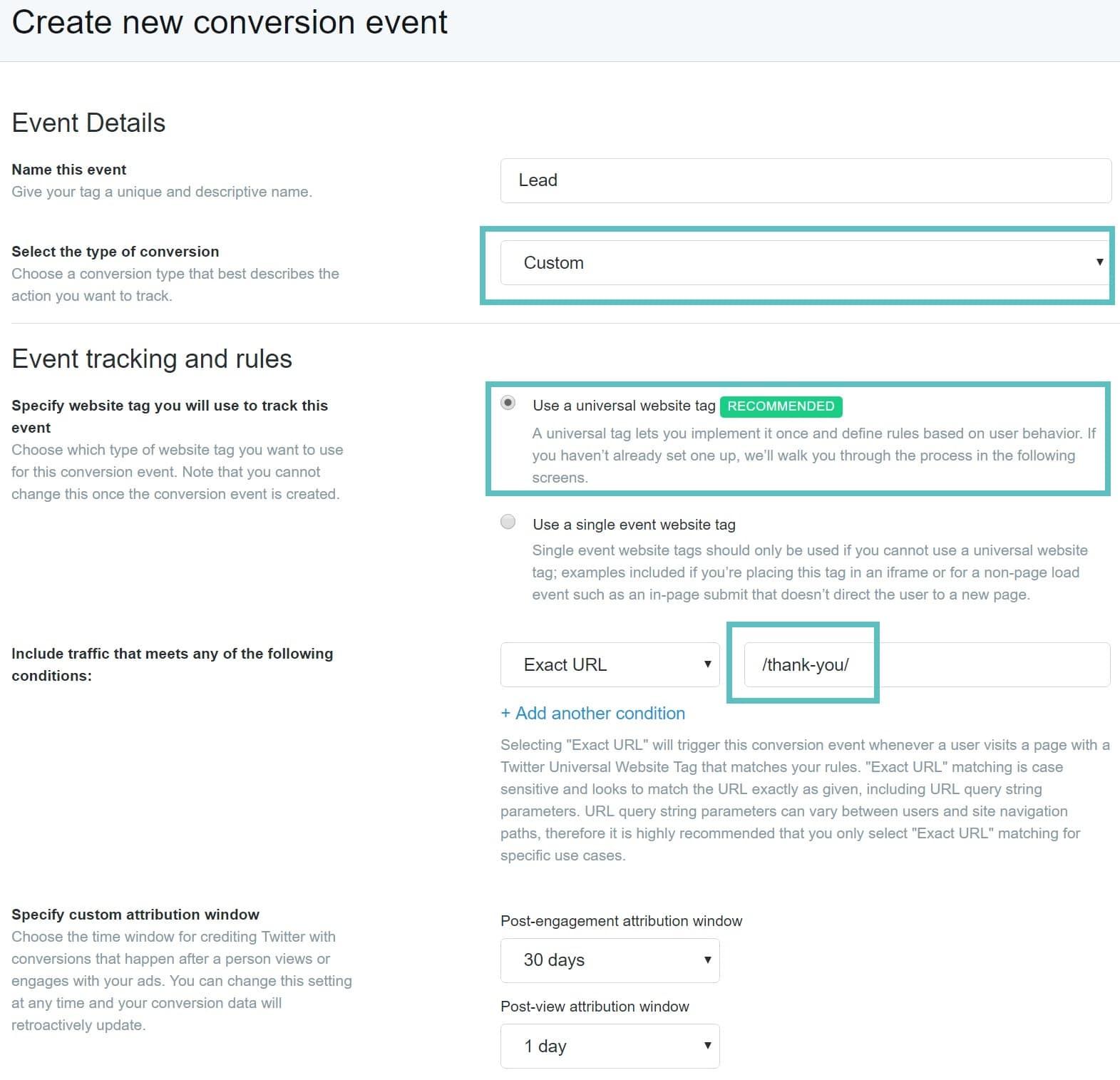 URL de conversion personnalisée sur Twitter