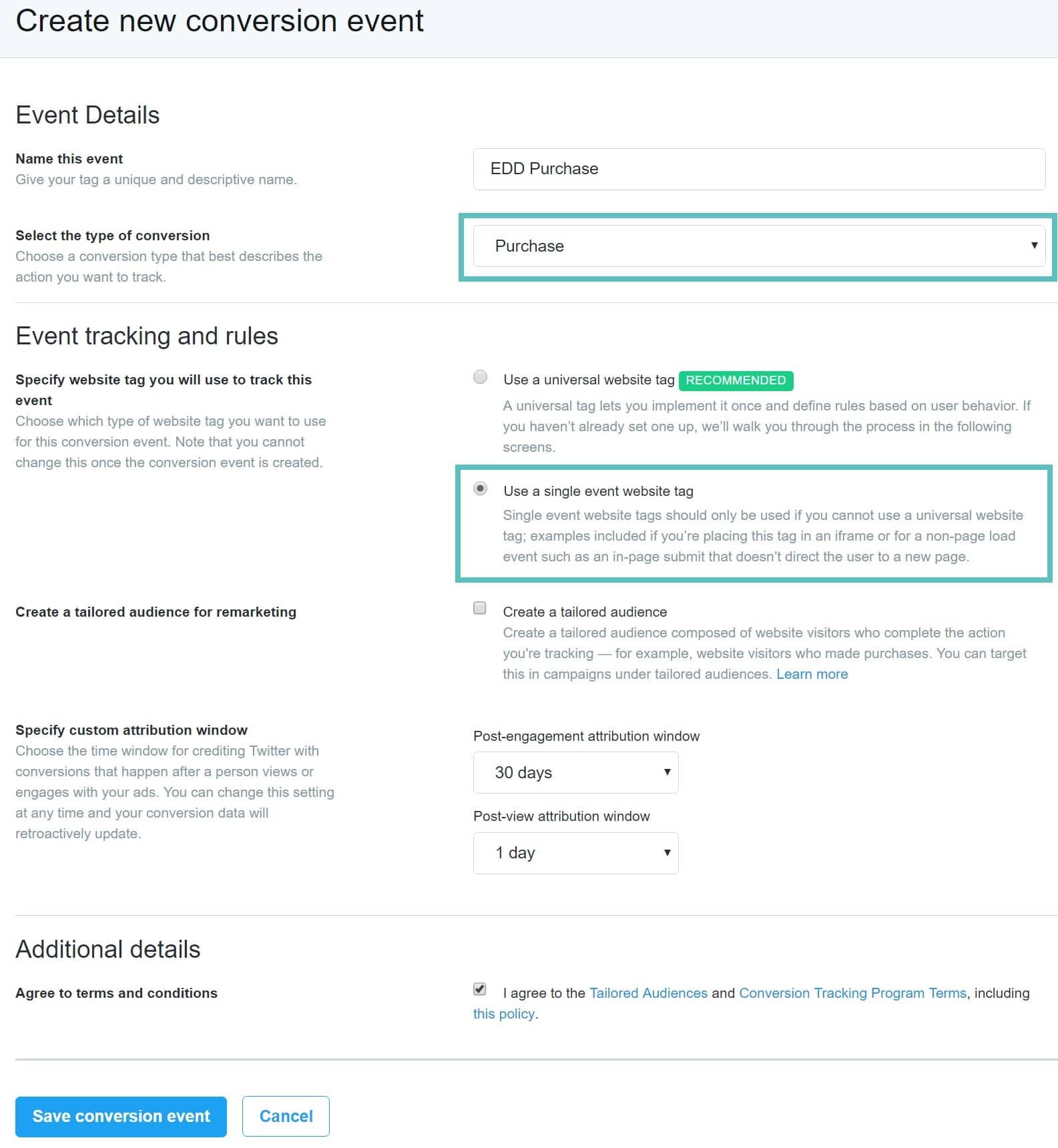 Pixel d'événement unique Twitter dans EDD