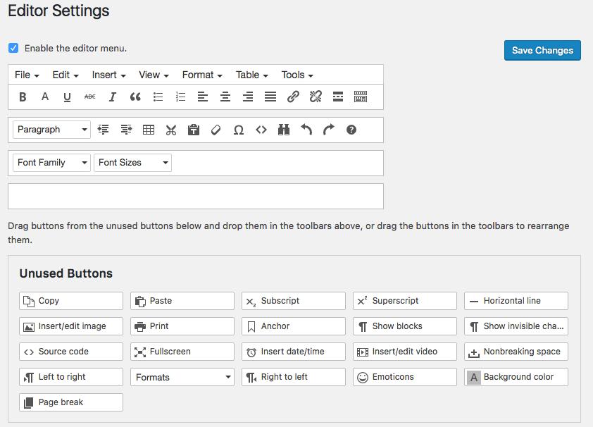 Depuis la page des réglages de l'éditeur, nous pouvons ajouter, supprimer et organiser des boutons sur la barre d'outils TynyMCE