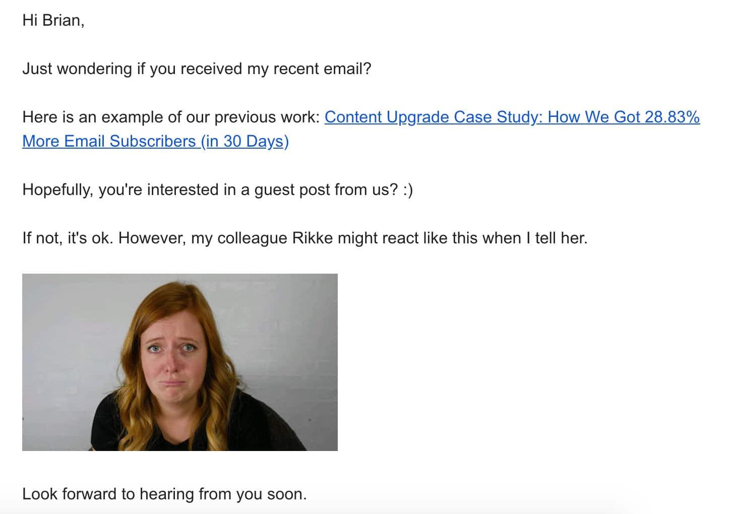 Exemple 1 de demande de blog d'invité