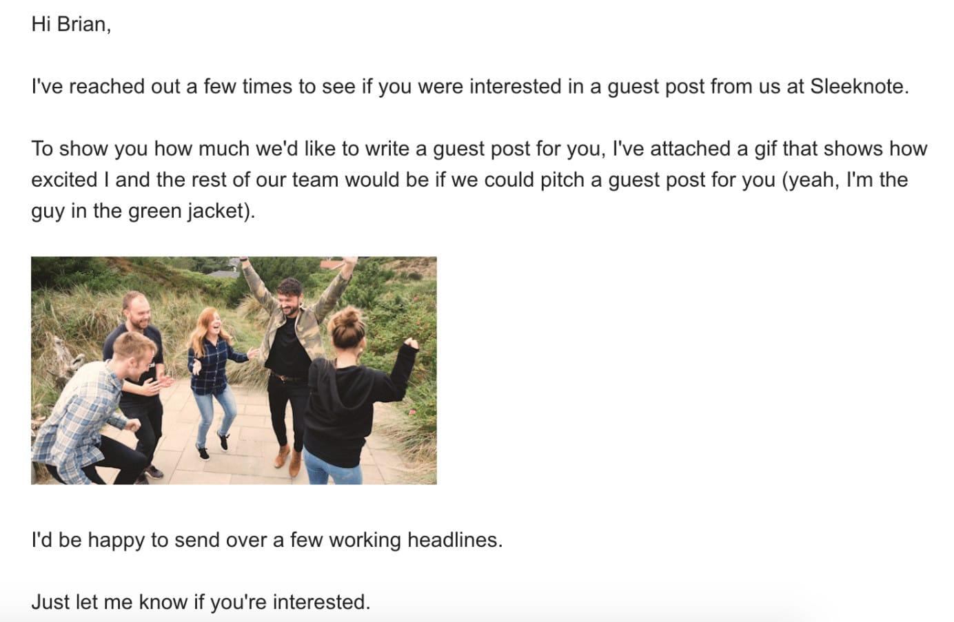Exemple 2 de demande de blog d'invité