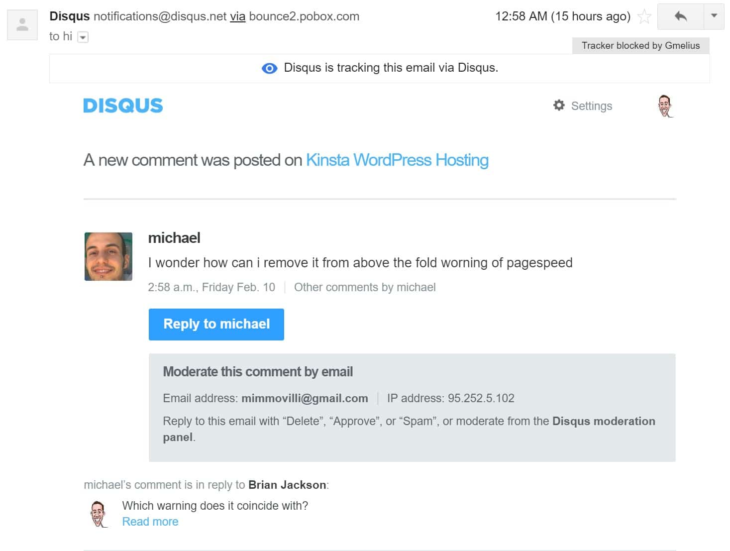 disqus email notification