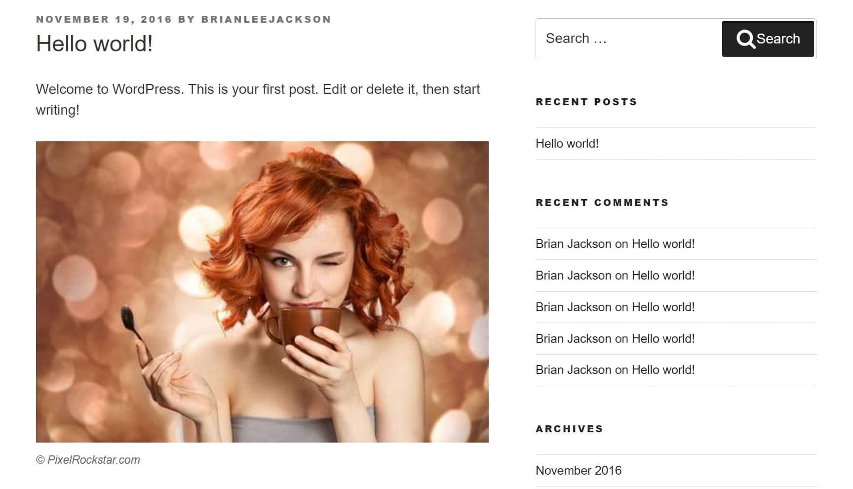 Exemple de photo de stock WordPress