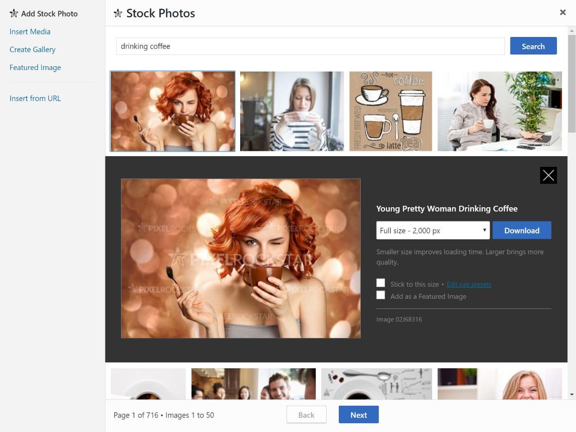Insérer des photos de stock WordPress
