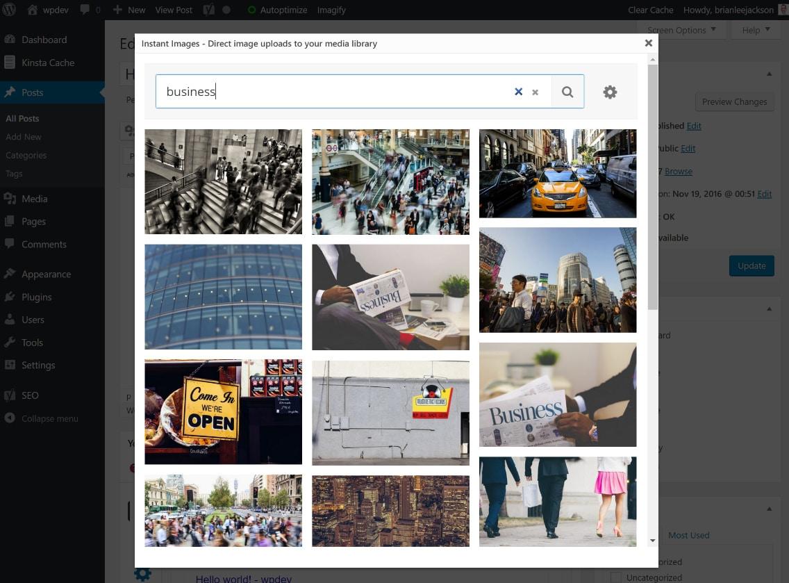Rechercher des photos de stock dans WordPress